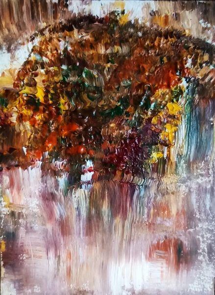 Fächerpinsel, Experimentell, Herbst, Farbverlauf, Stimmung, Nebel
