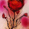 Blumen, Zeichnen, Tuschmalerei, Expressionismus