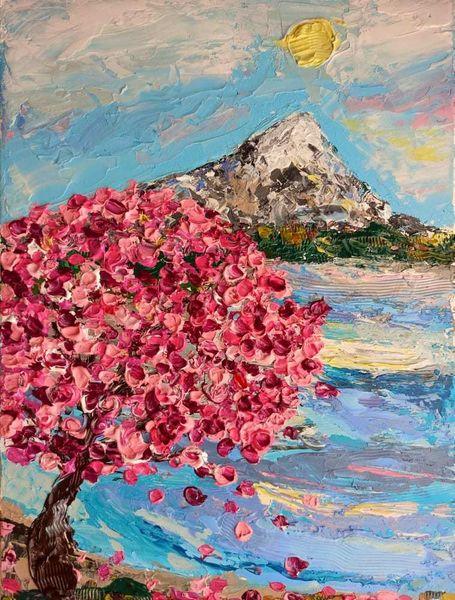 Expressionismus, Schicht, See, Kirschblüten, Berge, Wolken