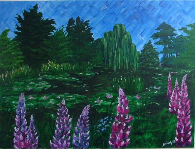 Acryl auf leinwand, Impressionismus, Frühling, Frankreich, Blumen, Malerei
