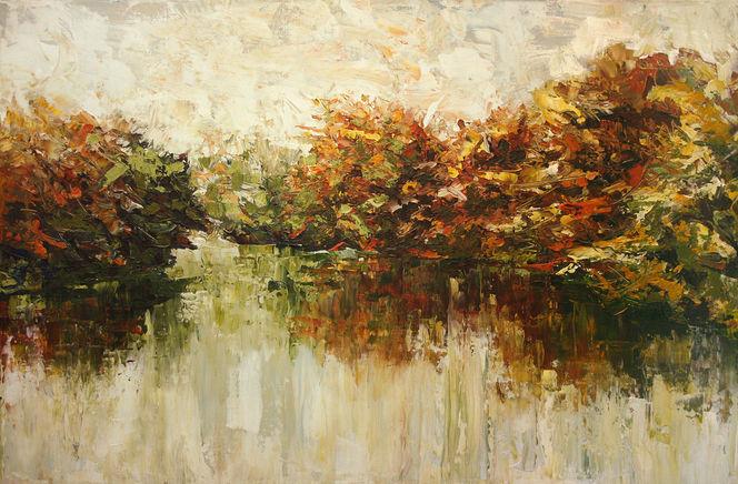 Panorama, Herbst, Waldrand, Gemälde, See, Malerei