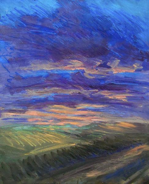 Sonnenuntergang, Licht, Dämmerung, Westen, Malerei, Blick