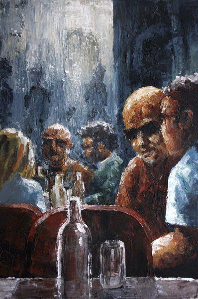 Acrylmalerei, Strassencafe, Gemälde, Menschen, Malerei