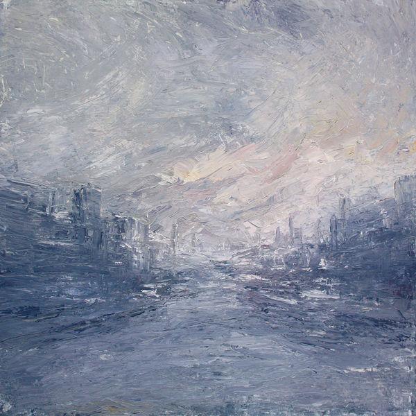 Winter, Nebel, Hafen, Industriehafen, Abend, Malerei