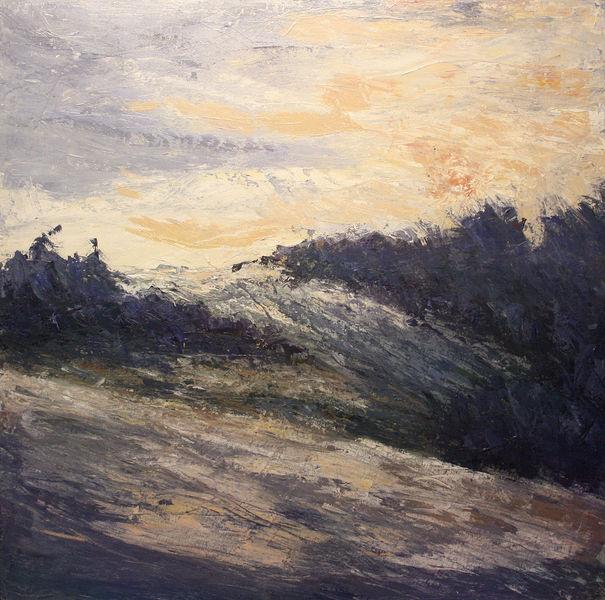 Winterabend, Spaziergang, Sonnenuntergang, Schnee, Dämmerung, Gemälde