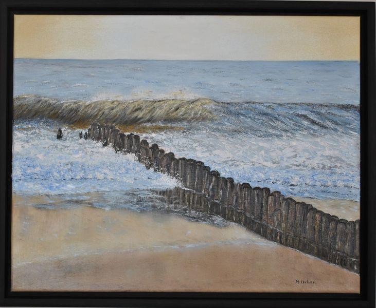 Abend, Meer, Wasser, Malerei