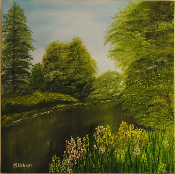 Schafbrücke, Natur, Wald, Kanal, Malerei