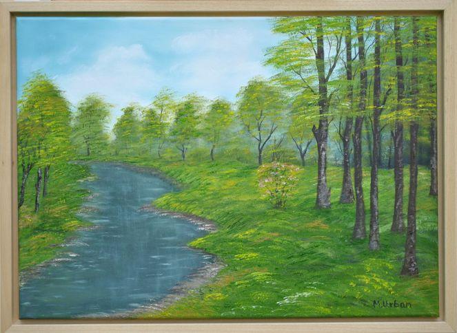 Lichtung, Bach, Wald, Malerei