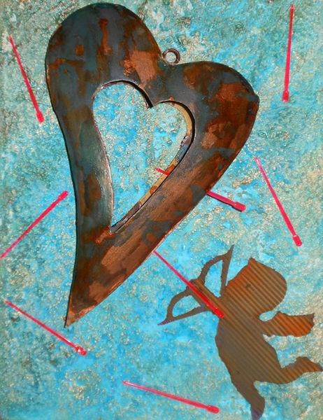 Amor, Collage, Pfeil, Brille, Patina, Herz