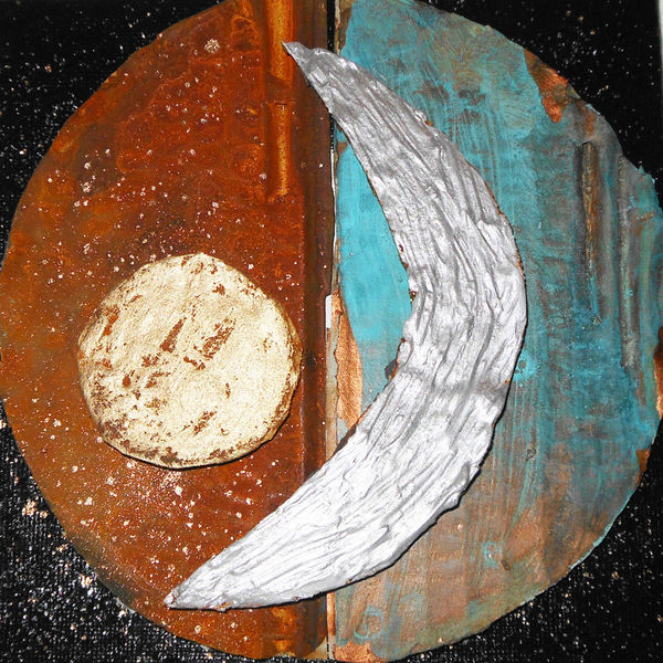 Nacht, Patina, Mond, Collage, Sonne, Tag