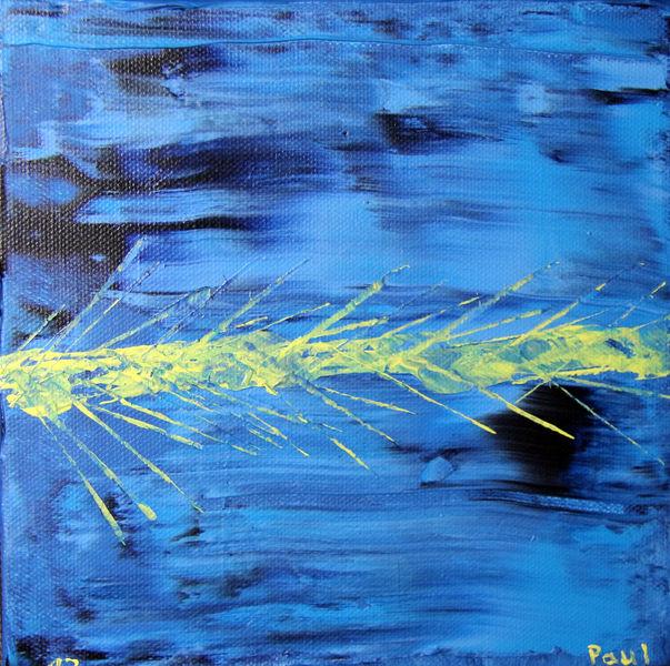 Täglich, Abstrakt, Blau, Gelb, Malerei,
