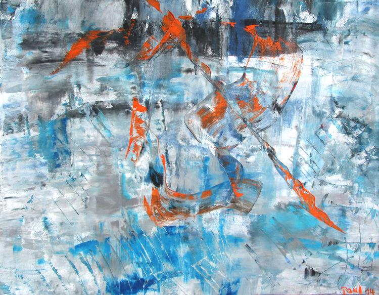 Schnitt, Gouachemalerei, Abstrakt, Malerei,