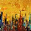 Stadt, Skyline, Abstrakt, Gold