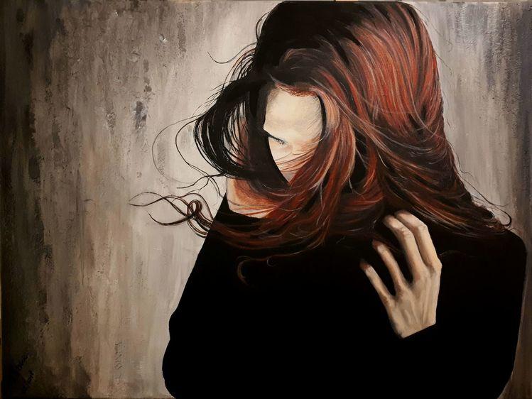 Verzweifeln, Haare, Schüchtern, Malerei,