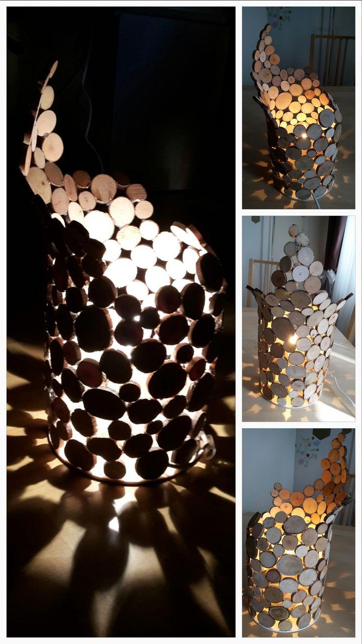 Lampe aus Holzscheibchen - Lampe, Licht, Holz, Scheibe von ...