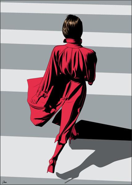 Rot, Geschwind, Wind, Mantel, Illustrationen