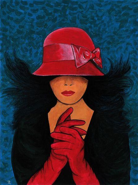Frau, Acrylmalerei, Farben, Malerei, Rot,