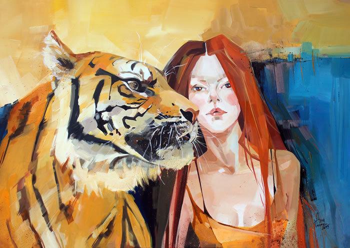 Portrait, Frau, Seele, Tiger, Malerei