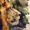 Aquarell, Tiere, Löwe