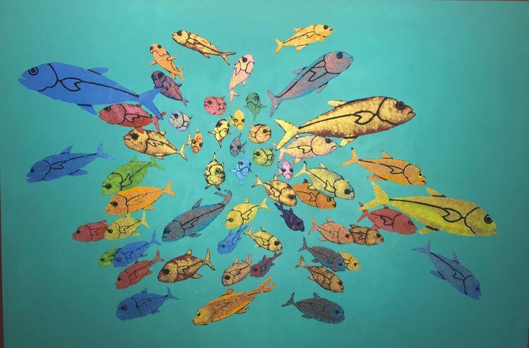 Fisch, Gruppe, See, Wasser, Schwarm, Bunt