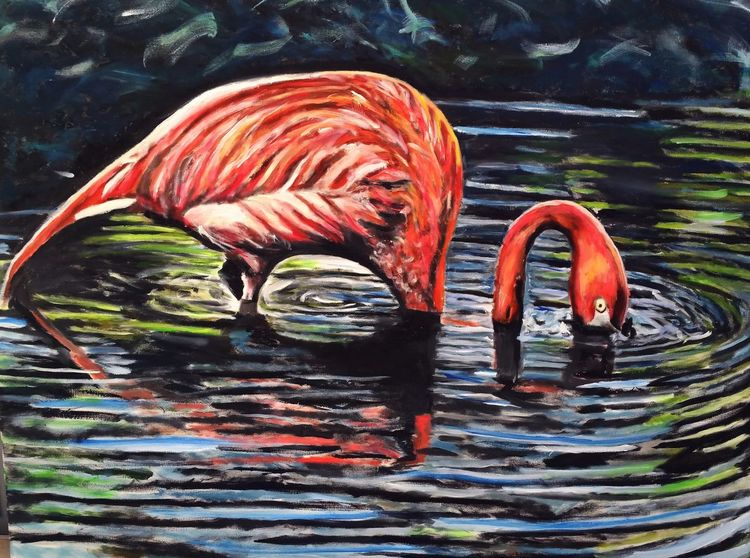 Ölmalerei, See, Gemälde, Wasser, Pink, Neon