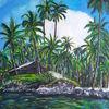 Ölmalerei, Insel, Palmen, Wolken