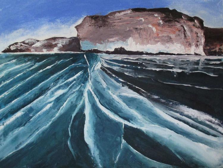 Landschaft, Spachteltechnik, Baikal, Gefroren, Russland, Malerei