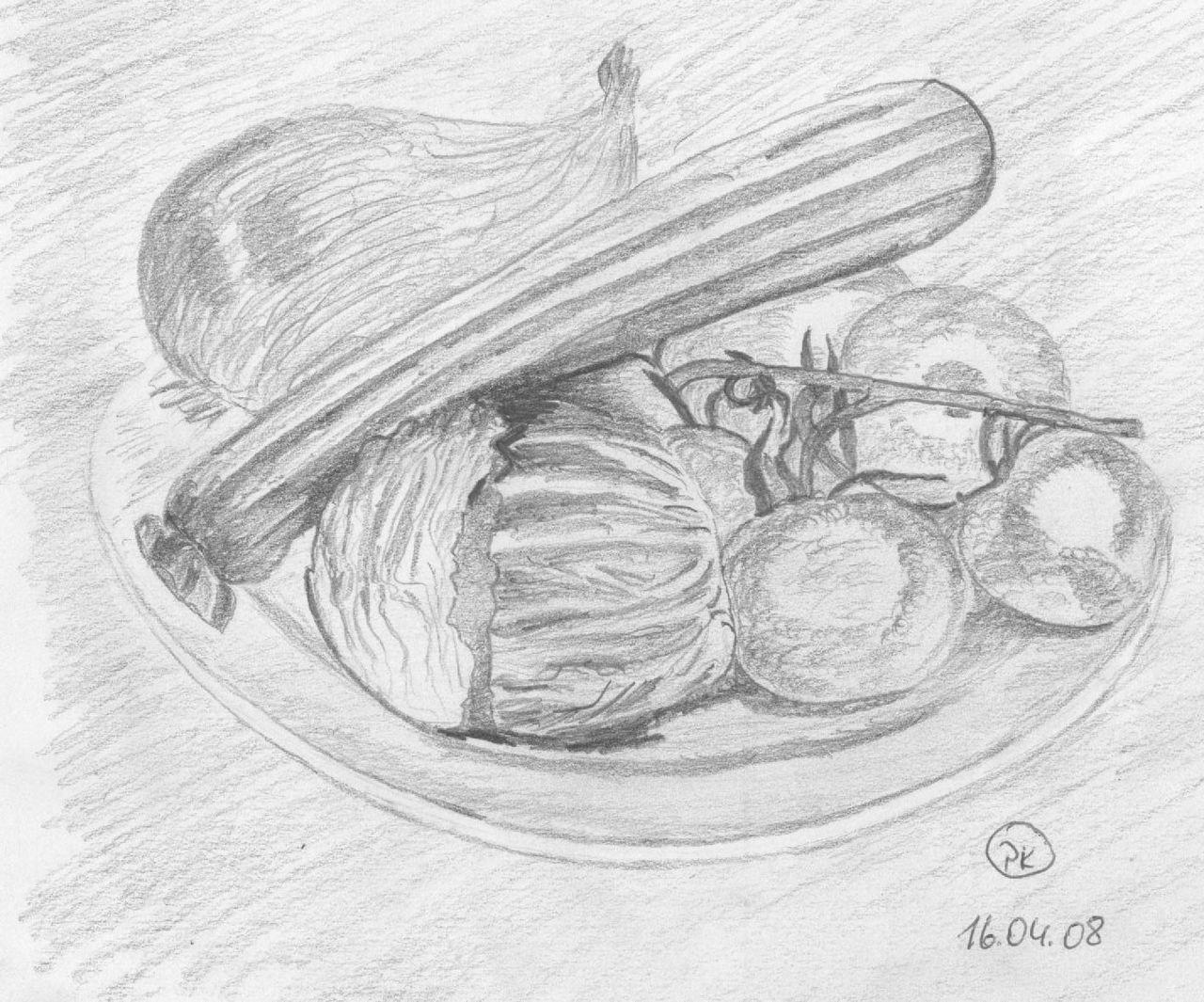 Stlleben Gemüse 001 Gemüse Zeichnung Bleistiftzeichnung