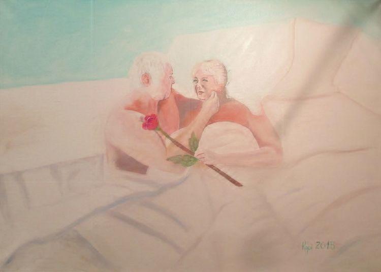 Liebe, Ölmalerei, Paar im bett, Portrait, Malerei