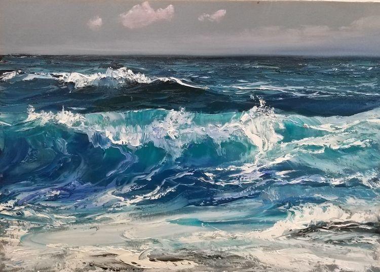 Sommer, Wasser, Landschaft, Meer, Landschaftsmalerei, Welle