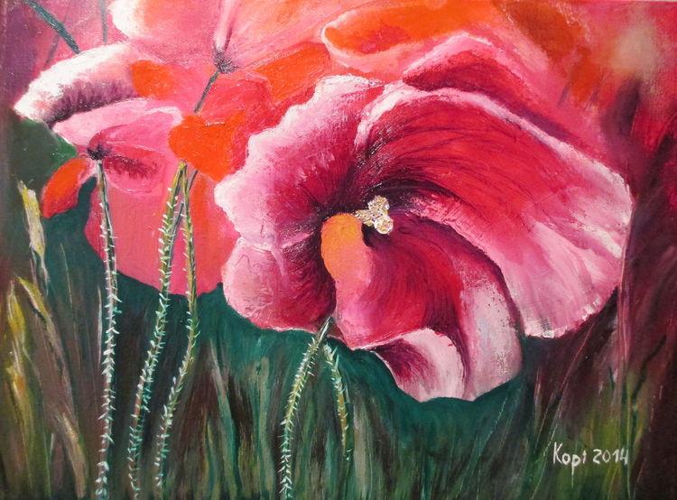 Ölmalerei, Bunt, Blumen, Mohn, Malerei
