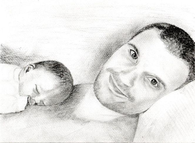 Neugeboren, Zeichnung, Bleistiftzeichnung, Familie, Vater, Glück
