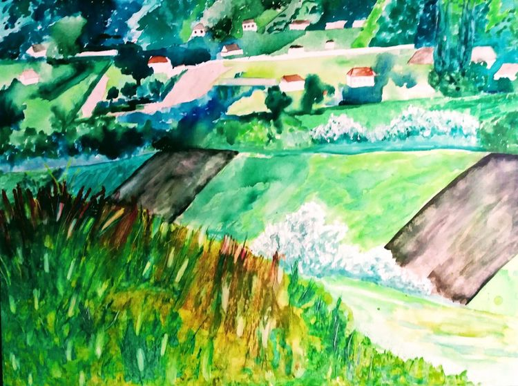 Dorf, Sommer, Aquarellmalerei, Grün, Rumänien, Aquarell