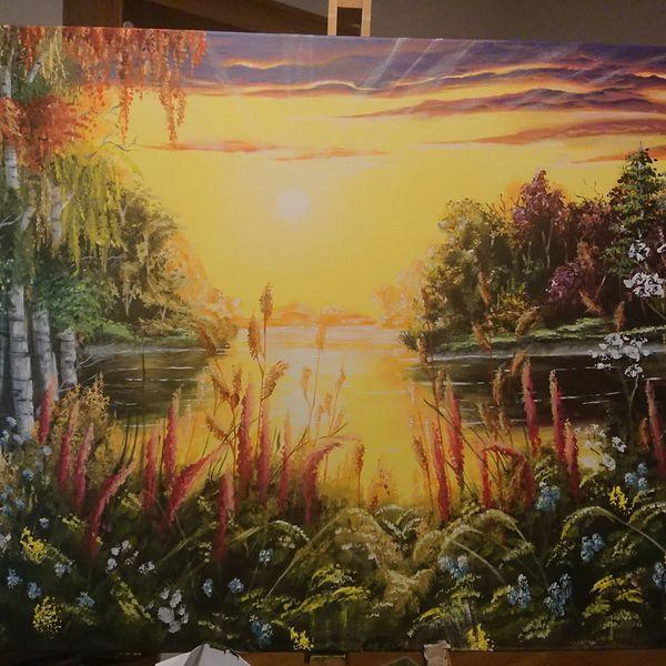 Landschaft, Sonnenuntergang, Acrylmalerei, Malerei
