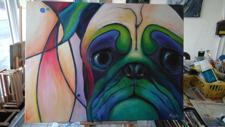 Grün, Freunde, Acrylmalerei, Hundeportrait, Regenbogen, Gelb