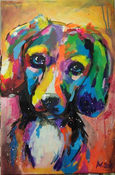 Tiere, Hund, Etsy, Expressionismus, Malerei, Schlappohr