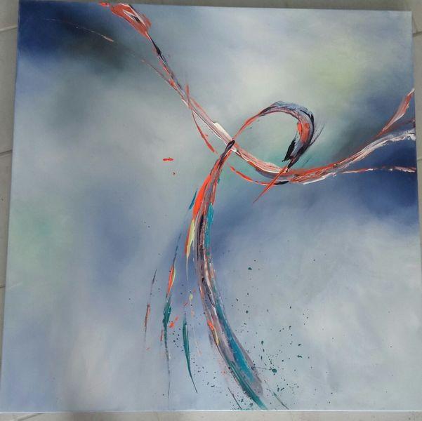 Phoenix, Minimalistisch, Fließen, Blau, Acrylmalerei, Richtung