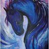 Hengst, Pferde, Blau, Schwung
