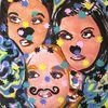 Gesicht, Frau, Clown, Pastellmalerei