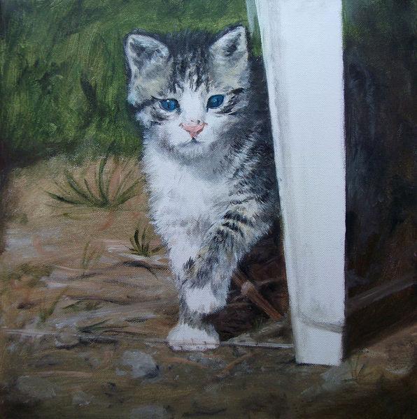Katze, Natur, Tiere, Garten, Malerei