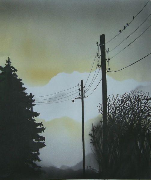Baum, Vogel, Abend, Malerei, Scherenschnitt, Abendstimmung