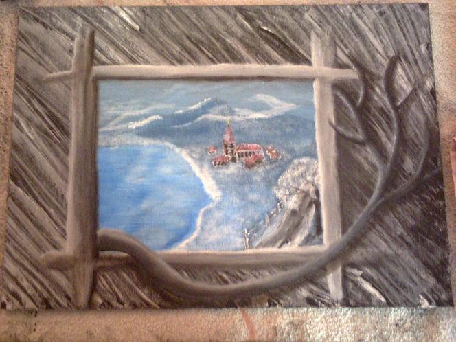 Äste, Dorf, Wasser, Berge, Fenster, Malerei