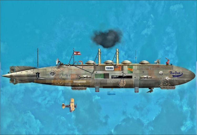 Steampunk, Dampf, Malerei, Roy, Zeichnung, Science fiction