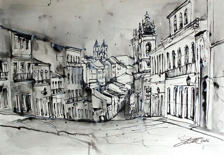 Salvador bahia, Rohrfederzeichnung, Brasilien, Largo do pelourinho, Kirche, Zeichnungen