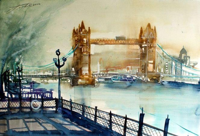 Stadtansichten, Aquarellmalerei, London, Stadt, Aquarell,