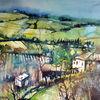 Landschaftsmalerei, Bauernhaus, Feld, Aquarell