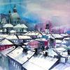 Winter, Stadt, Salzburg, Aquarell
