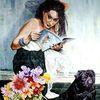 Frau, Lesen, Mopsbuch, Hocken