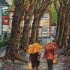 Regenschirm, Iserlohn bei regen, Morgendlich, Sunderallee