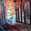 Ölbild gefunden, Herbstwald, Studie, Don quijote
